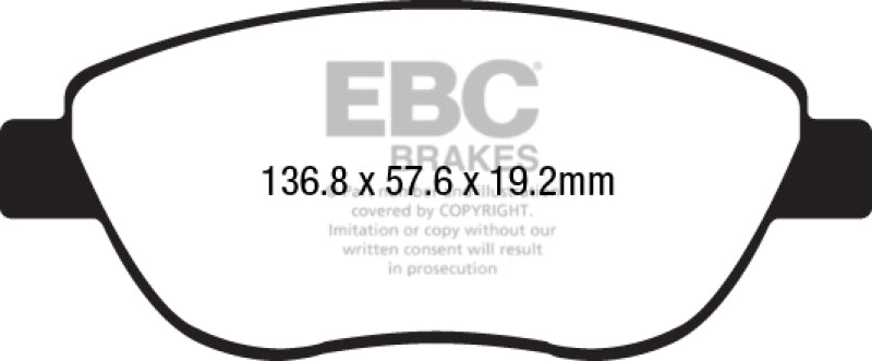 EBC 14-17 Fiat 500 Redstuff Ceramic Low Dust Front Brake Pads - free shipping - Fastmodz