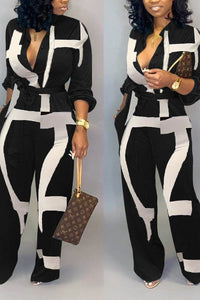 CASUAL BLACK AND WHITE JUMPSUIT