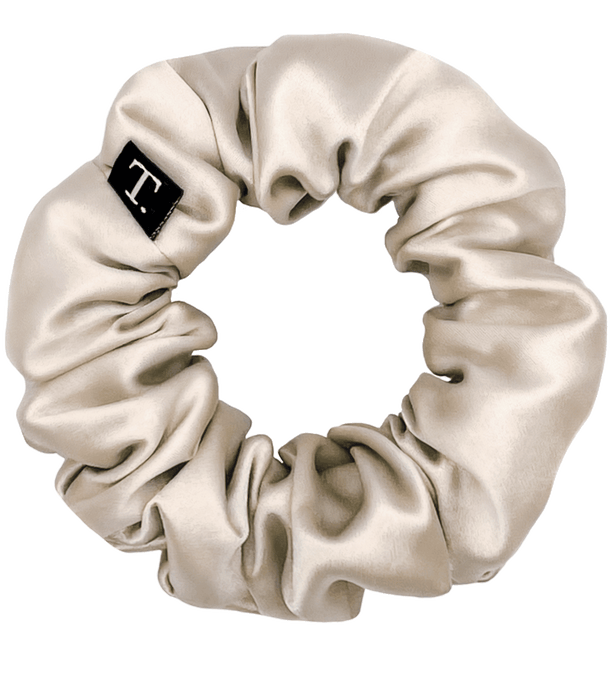 Tender Objects 35mm silk scrunchie in Whipped Champagne
