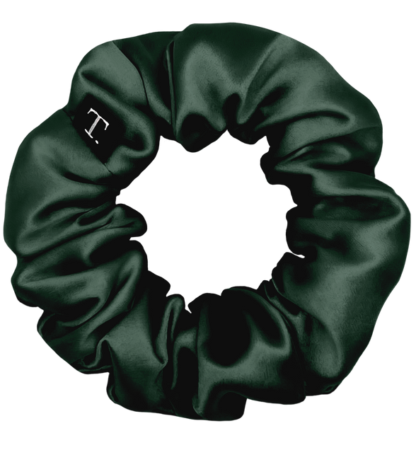 Tender Objects 35mm silk scrunchie in Deep Forest