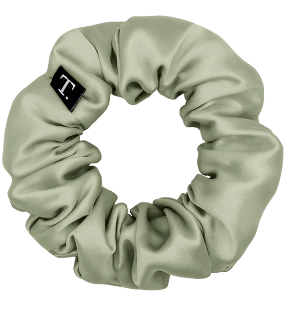 Tender Objects 35mm silk scrunchie in Natural Sage