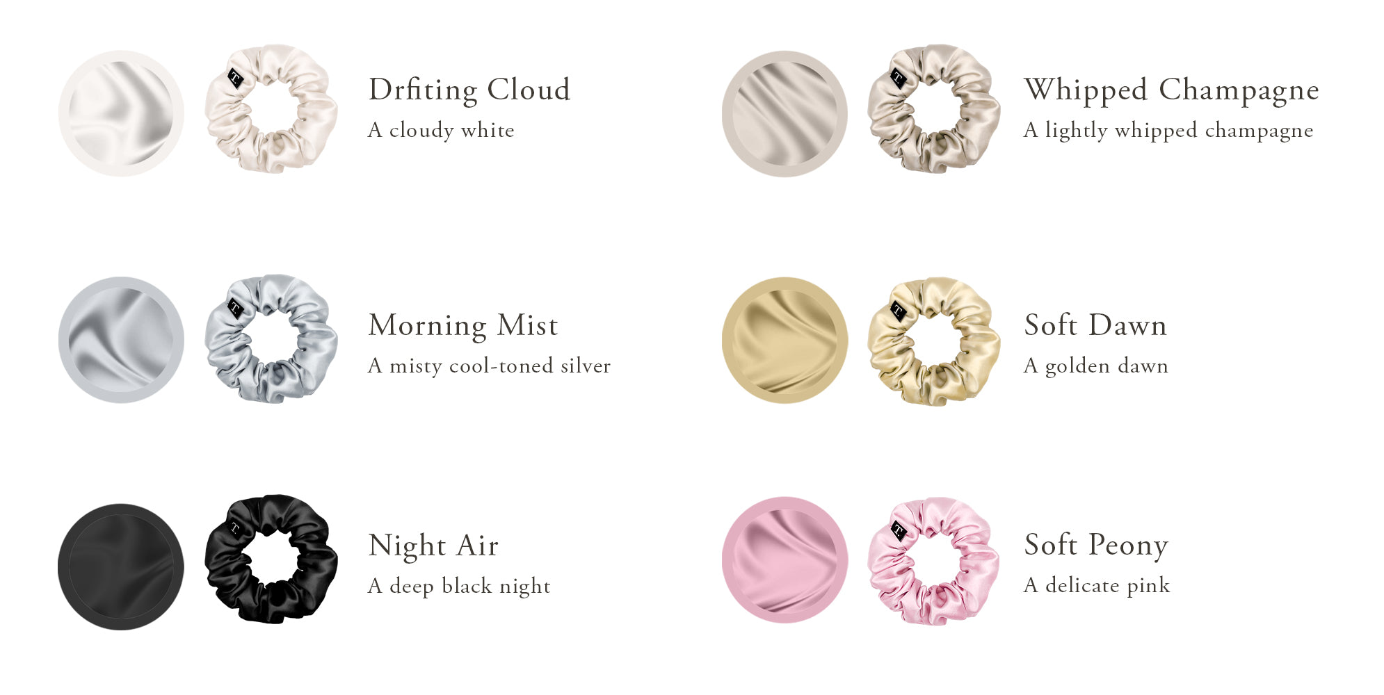 Silk Scrunchie Color Chart
