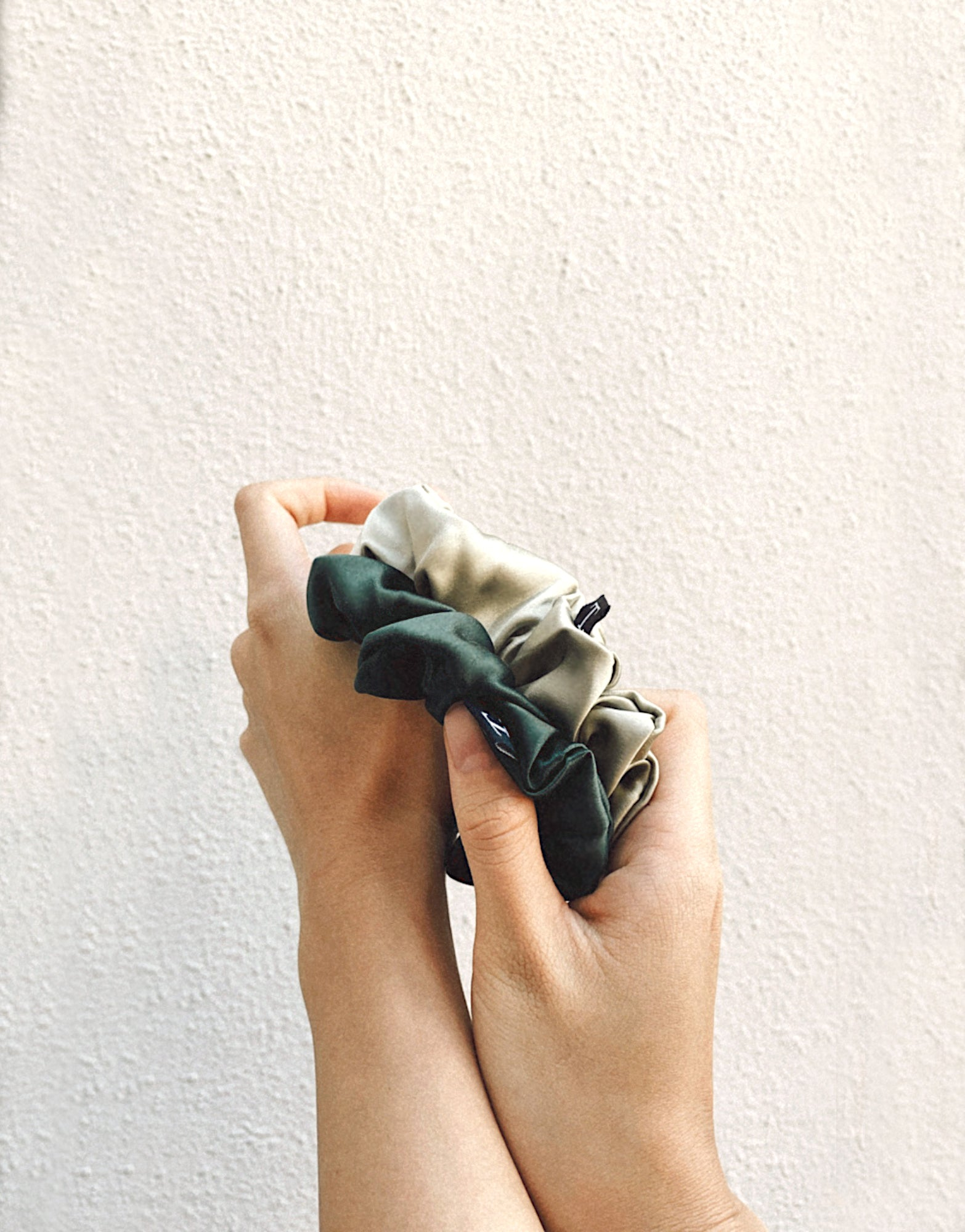 Tender Objects 35mm silk scrunchie in Natural Sage and Deep Forest