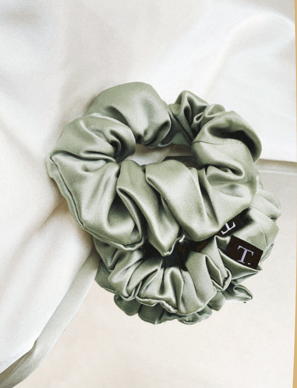 Tender Objects silk scrunchie in Natural Sage