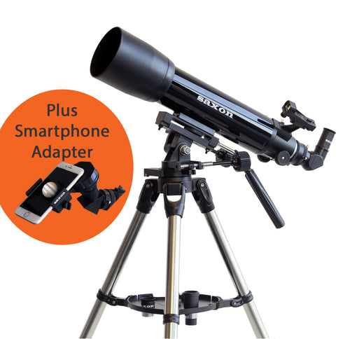 saxon 1026AZ3 SC Refractor Telescope with Steel Tripod & ScopePix Smartphone Adapter