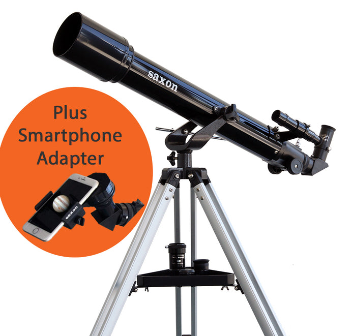 Saxon 707 AZ2 Refractor Telescope with Saxon ScopePix 2s Smartphone Adapter