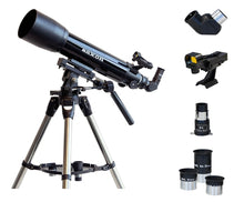 Load image into Gallery viewer, saxon 1026AZ3 SC Refractor Telescope with Steel Tripod & ScopePix Smartphone Adapter