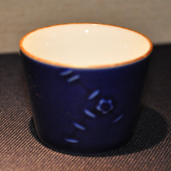 Handmade Blue Teacup with a Flower from Jingdezhen