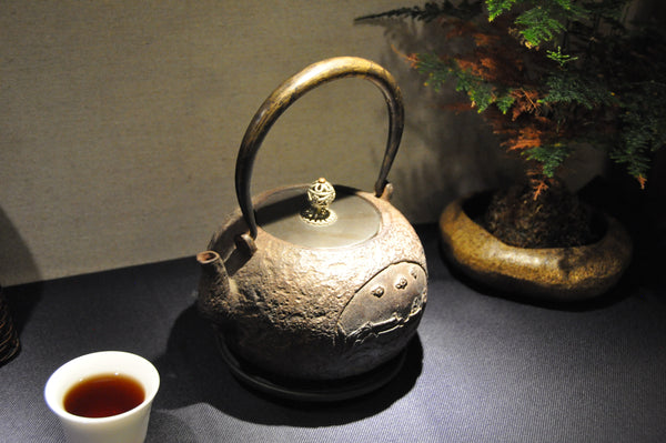 Antique Tetsubin with Village Relief and Laced Handle