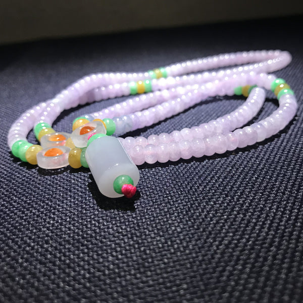 Handmade, Natural Violet Jadeite Jade Necklace