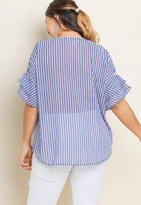 Striped Sheer Ruffle