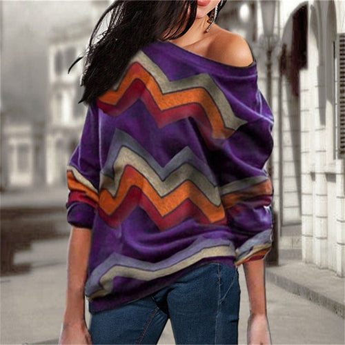 Abstract Off Shoulder Sweater