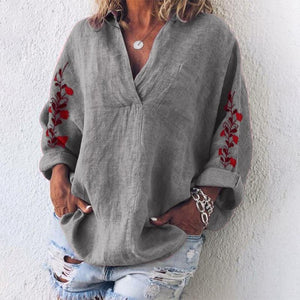 Embroidered Sleeve Linen