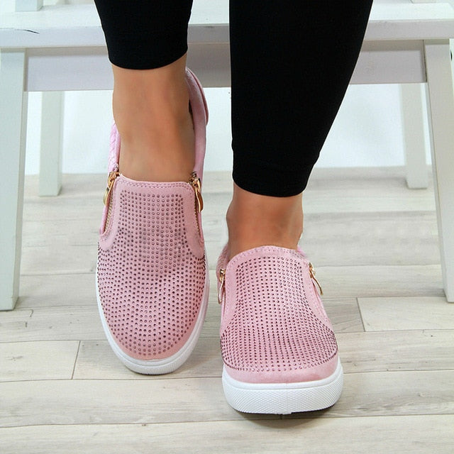 Crystal Slip On Flat Loafers