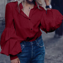 Load image into Gallery viewer, Lantern Sleeve Retro Blouse