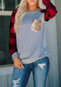 Plaid & Sequined Pocket