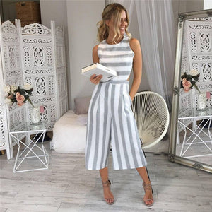 Wide Leg Striped Pantsuit