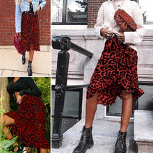 Load image into Gallery viewer, Red Leopard Skirt