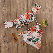 Load image into Gallery viewer, Off Shoulder Floral Bikini