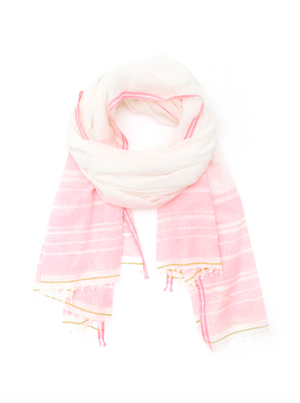 Écharpe en coton et khadi Soft Pink - Design 411 / Cotton and khadi scarf in Soft Pink - Design 411