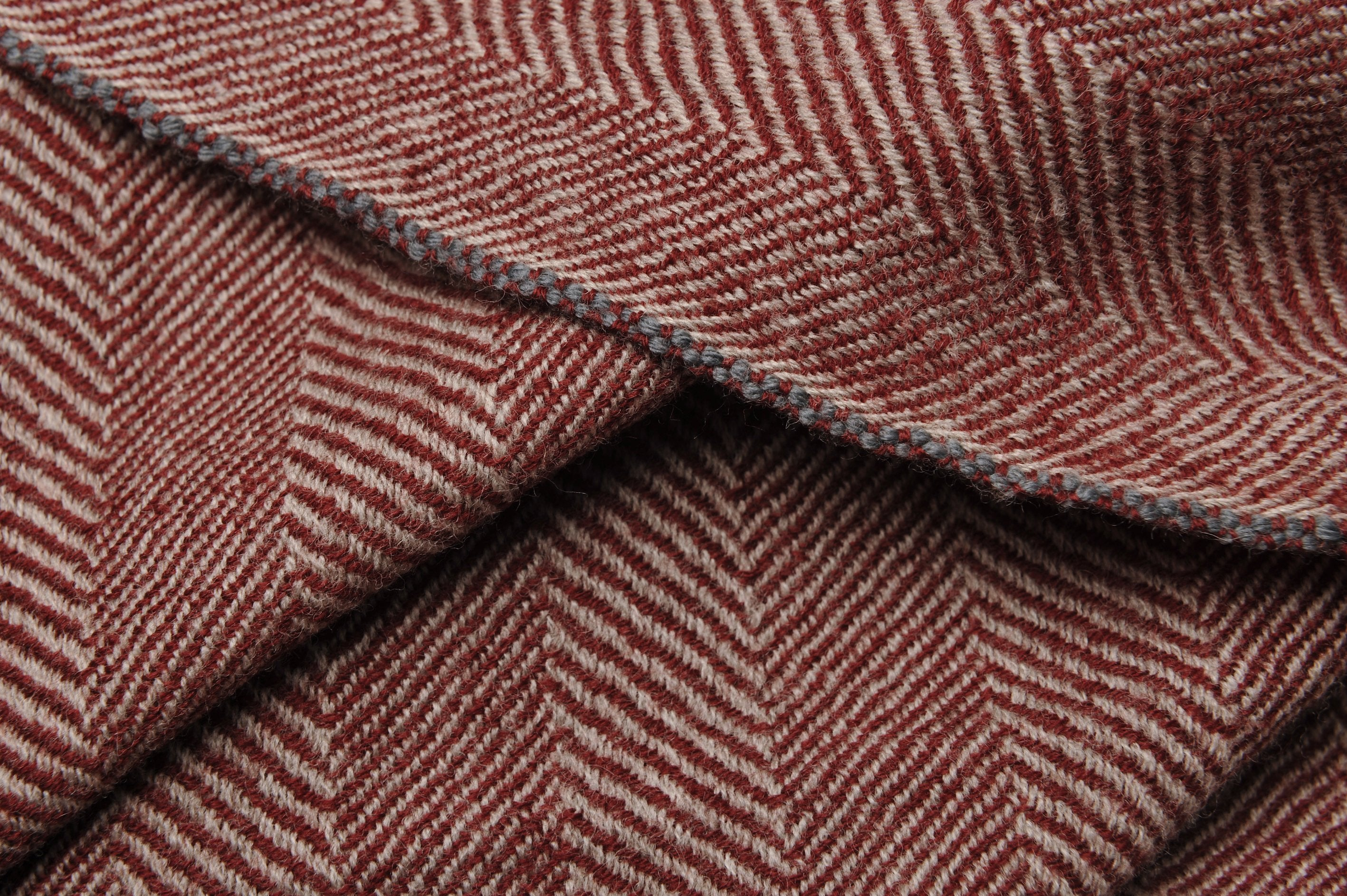 Echarpe - Plaid En Laine Bordeaux - Design 43 BURGUNDY