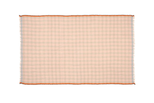 Echarpe - Plaid En Laine Rose Saumon à Carreaux - Design 45 PASTEL