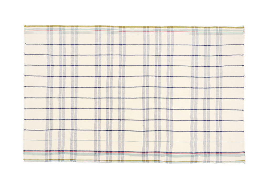 Moismont | Foulard | Plaid En Coton Bleu | Design 55 Ink Blue | Plat