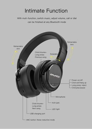 Awei A950BL ANC Wireless bluetooth Headphone Active Noise Cancelling 1050mAh Foldable Stereo Headset