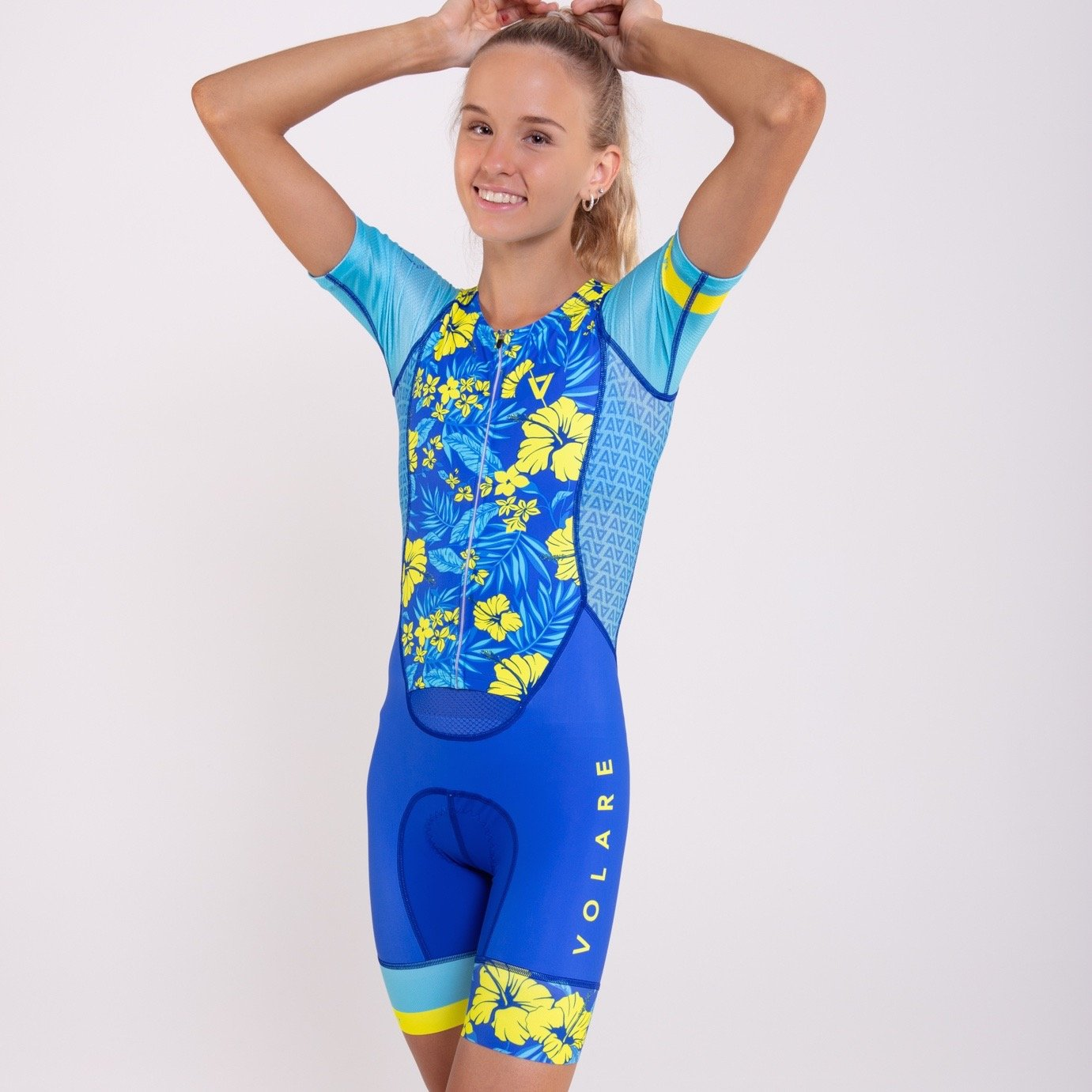 Volare Womens Hibiscus Sleeved Tri Suit