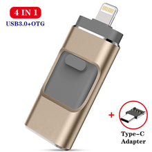 Load image into Gallery viewer, USB flash drive for iPhone series and Android pen drive 4 in 1