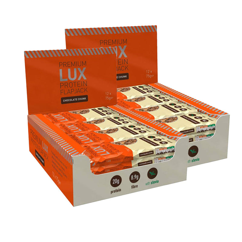 2 Boxes of LUX Premium Protein Flapjacks 12 x 75g