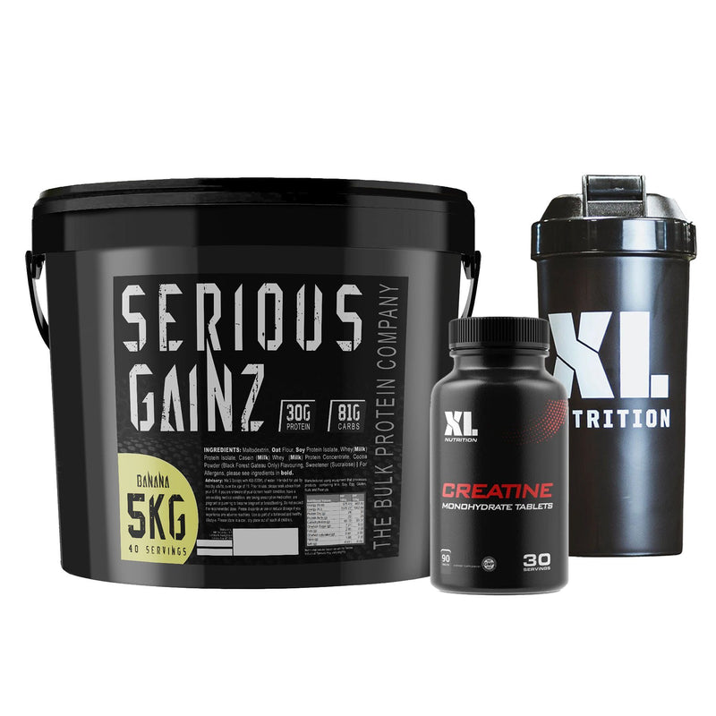Bulk Protein Company Serious Gainz 5kg + XL Nutrition Creatine Caps + Shaker