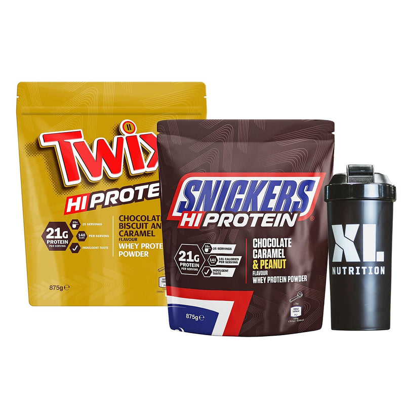 Twix Protein Powder 875g + Snickers Protein 875g + Shaker