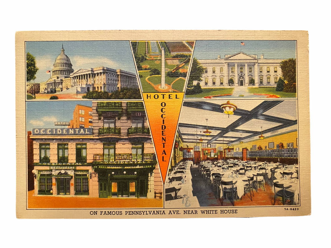 On Famous Pennsylvania Avenue Near White House, Unused Linen Postcard Circa 1930-1944