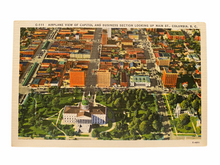 Load image into Gallery viewer, Airplane View of Capitol and Business Section Looking Up Main Street, Columbia South Carolina. Unused Linen Postcard Circa 1930-1944