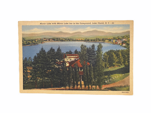 Mirror Lake with Mirror Lake Inn in the Foreground, Lake Placid, N.Y. Linen Era Postcard (1930-1945) Unused