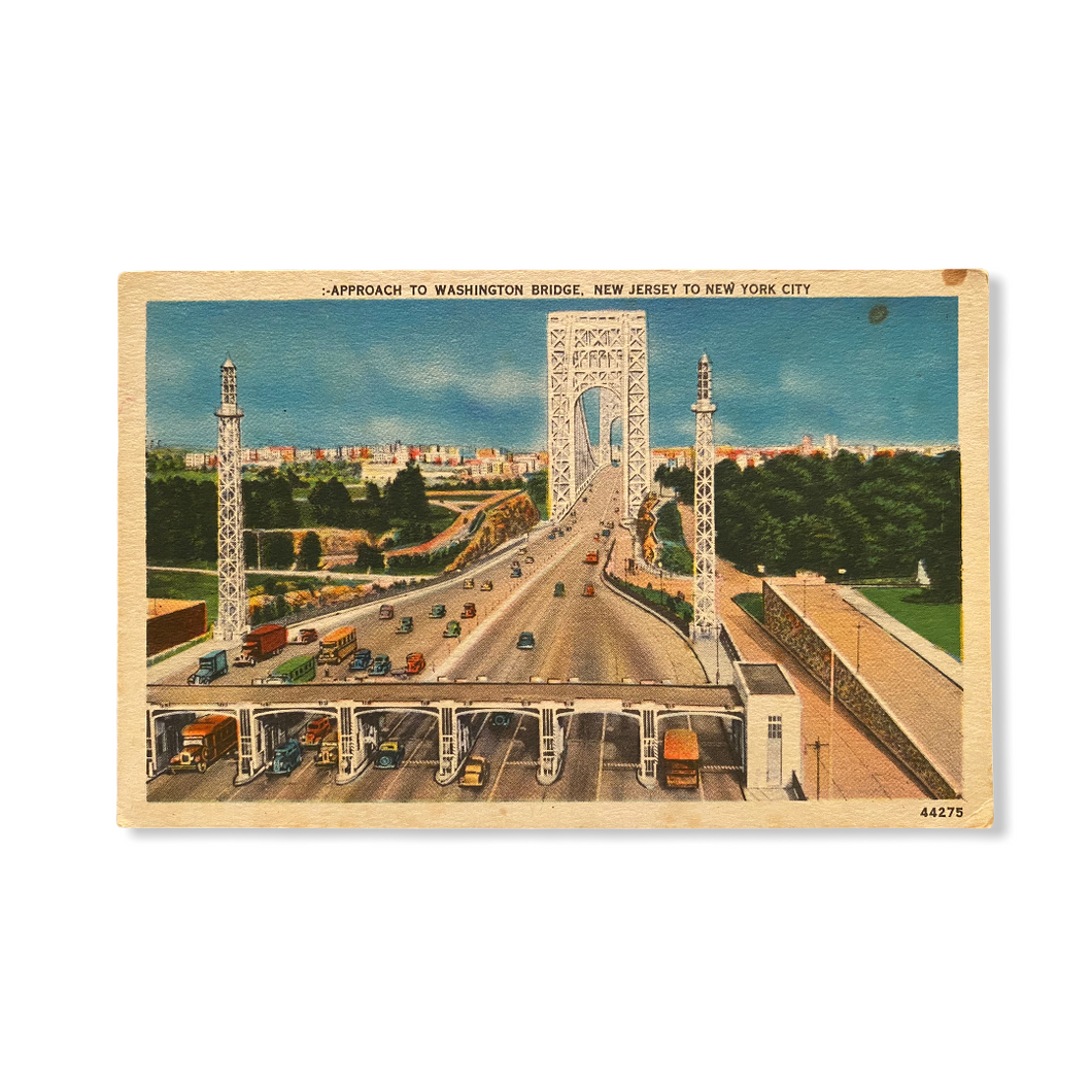 Approach to Washington Bridge, New Jersey to New York City Postcard Sent Oct. 12 1955