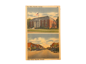Post Office & Street Scene in Rossville, Georgia. Unused Linen Postcard