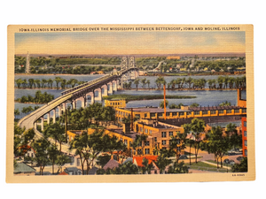 Iowa-Illinois Memorial Bridge Over The Mississippi Between Bettendorf, Iowa And Moline, Illinois. Unused Linen Postcard Circa 1930-1944