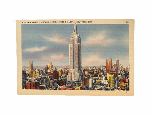 Midtown Skyline Showing Empire State Building, New York City. Linen Era (1930-1945) Unused