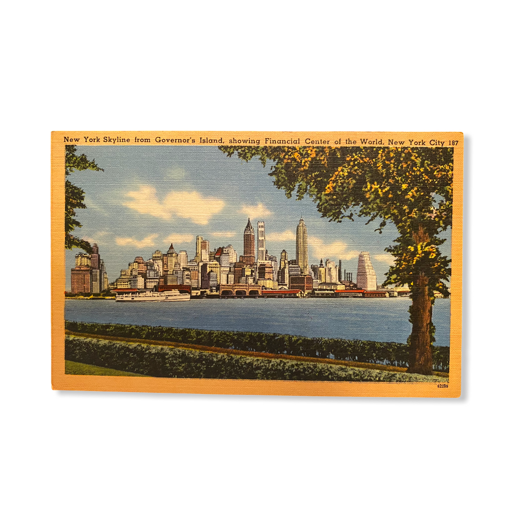 New York Skyline from Governor's Island, showing Financial Center of the World, New York City. Linen Postcard Circa 1930-1944 Unused