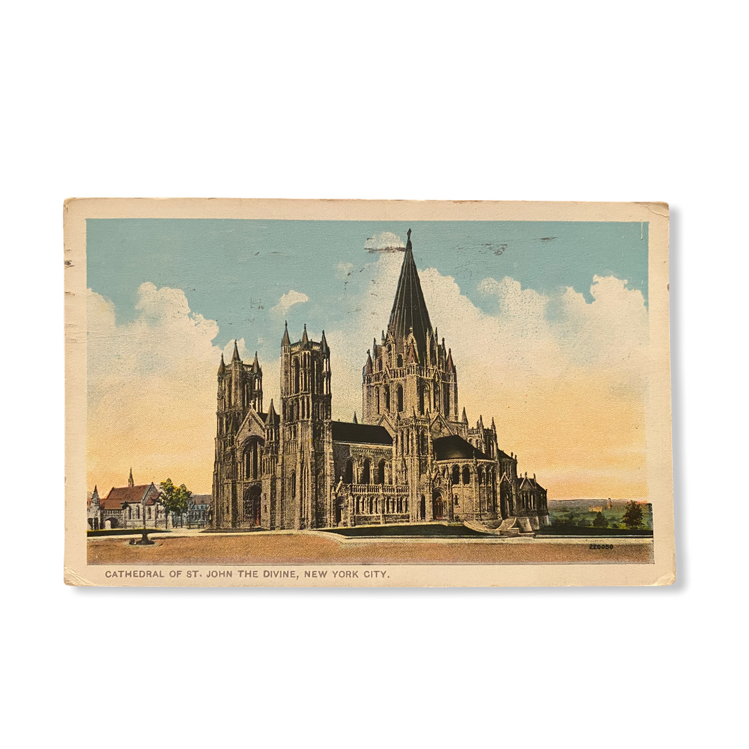 Cathedral of St. John The Divine, New York City. Postcard Sent Dec. 4 1918