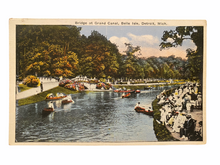 Load image into Gallery viewer, Bridge at Grand Canal, Bells Isle, Detroit Michigan. Unused Postcard Circa 1915-1930