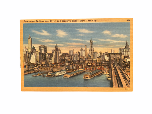 Downtown Skyline, East River and Brooklyn Bridge, New York City. Linen Postcard Circa 1930-1944 Unused