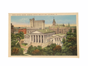 State Capitol Square, Showing Capitol and City Hall, Richmond Virginia, Unused Linen Postcard Circa 1930-1944