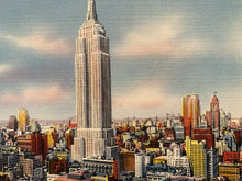 Load image into Gallery viewer, Midtown Skyline Showing Empire State Building, New York City. Linen Era (1930-1945) Unused