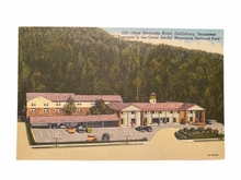 "Load image into Gallery viewer, New Riverside Hotel, Gatlinburg Tennessee ""Entrance to the Great Smoky Mountains National Park"" Unused Linen Postcard Circa 1930-1944"