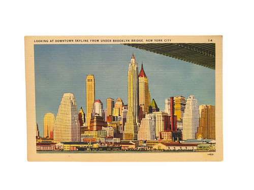 Looking at Downtown Skyline From Under Brooklyn Bridge, New York City. Linen Era (1930-1945) Unused
