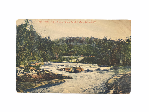 Copper Head Rock, Austin Glen, Catskills Mountains, N.Y. Postcard Sent July 9 1909 to Hoboken NJ