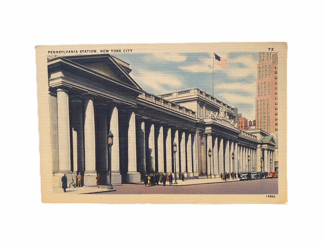 Pennsylvania Station. New York City Postcard Linen Era Unused